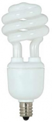 Satco CFL 5 Watt (25W) Spiral Candelabra Warm White (2700K)