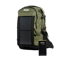 PowerKeepTM Wanderer Green Daypack with Solar Panel and Power Bank
