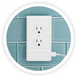 4 Pack - SnapPower White Duplex Outlet Coverplate with USB Charger